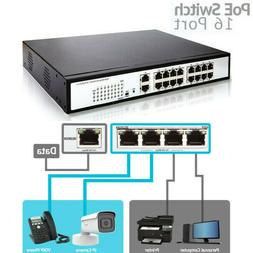 250W 18 Ports 16 PoE Injector Power Over Ethernet Network Sw