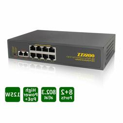 Unmanaged Ethernet PoE Switch Rackmount Network Powered 8 Po